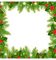 Winter Border With Christmas Tree And Holly Berry vector image vector image