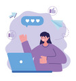young woman with laptop chatting design vector image