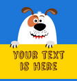 greeting card with funny cartoon dog vector image