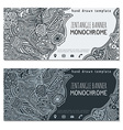 monochrome hand drawn zentangle banner icons vector image