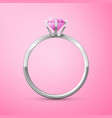 silver wedding ring on pink background vector image