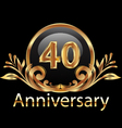 40 years anniversary birthday in gold vector image vector image