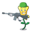 army daffodil flower character cartoon vector image vector image