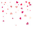 beautiful confetti hearts falling on background vector image vector image