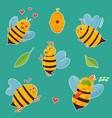 big set of bright cartoon beesand elements vector image
