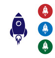 blue rocket ship with fire icon isolated on white vector image vector image