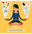 Businesswoman in Yoga Pose Multitasking Work vector image