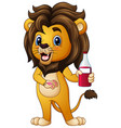 cartoon lion holding a drink bottle vector image