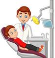 cartoon little boy in dentist office vector image vector image