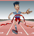 cartoon man first reaches the finish line vector image vector image