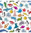 Cartoon pattern of sea fish and ocean animals vector image