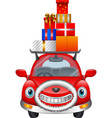 cartoon red car carrying christmas gift boxes on i vector image vector image