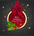 christmas ball holiday round frame banner with vector image