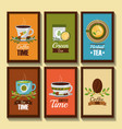coffee and tea time banners decorative flower in vector image