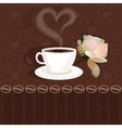 Coffee cup and flower rose vector image vector image