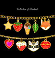 collection pendants animal face and food vector image vector image