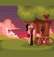 couple kissing having date under big tree at vector image