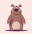 funny brown bear character cartoon vector image