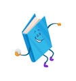 funny humanized blue book character throwing vector image vector image