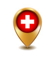 golden metal map pointer with switzerland flag vector image vector image