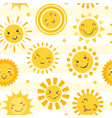 hand drawn cute sun icons and emoji vector image vector image