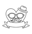 heart with glasses hat and moustache black and vector image vector image