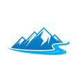 Hiking logo mountain river icon vector image