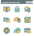 Icons line set premium quality of cyber security vector image