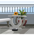 Interior balcony table with fruit papaya and vector image vector image