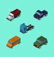 isometric automobile set of freight autobus suv vector image vector image