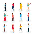 isometric teenagers collection vector image vector image