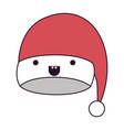 kawaii christmas hat santa claus happiness mouth vector image vector image
