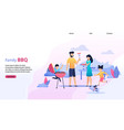 landing page flat template with family bbq text vector image