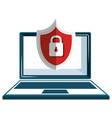 laptop computer with shield padlock vector image vector image