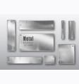 metal banners set realistic metal brushed vector image vector image