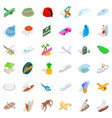 miami icons set isometric style vector image vector image