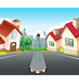 Neighborhood scene with houses and road vector image vector image