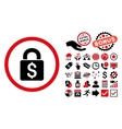 Pay Lock Flat Icon with Bonus vector image vector image