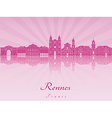 Rennes skyline in purple radiant orchid vector image vector image