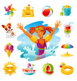 sea travel icons happy bagirl swimming in the vector image