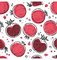 seamless pattern black red white pomegranates vector image vector image