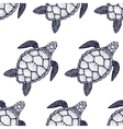 Seamless pattern with sea turtle in line art style vector image vector image