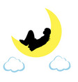 silhouette girl lies on moon world sleep day vector image vector image
