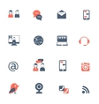 Social network black red icons set vector image vector image