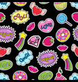 sticker pack or patches seamless pattern vector image