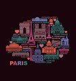 stylized map paris with landmarks vector image