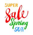 super Spring Sale Lettering Typography Design vector image vector image