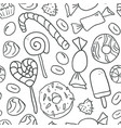 sweet cartoon outline candies seamless pattern vector image