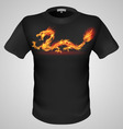t shirts Black Fire Print man 11 vector image vector image