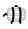 wooden barrel with tap vector image vector image